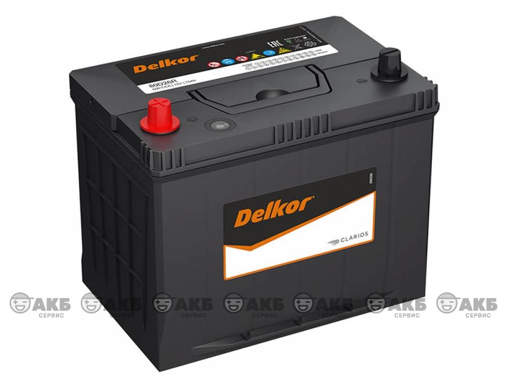 Аккумулятор Delkor 75 А/ч. прямая полярность Asia (80D26L)