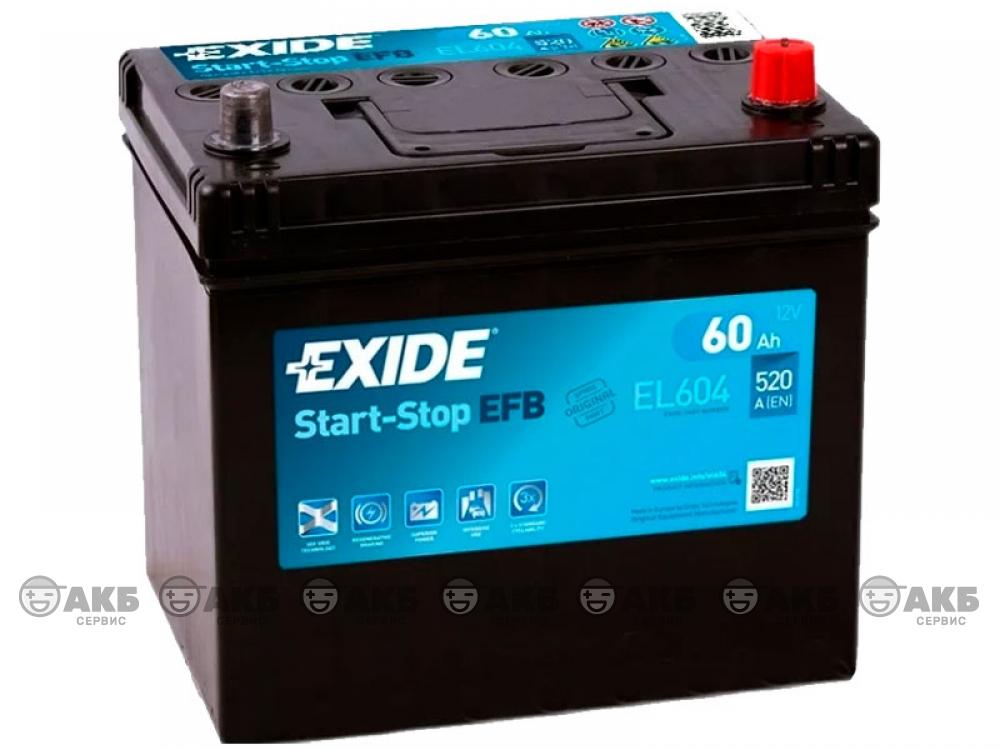 Аккумулятор EXIDE START&STOP EFB 60 а/ч обратная полярность (азия) (EL604)