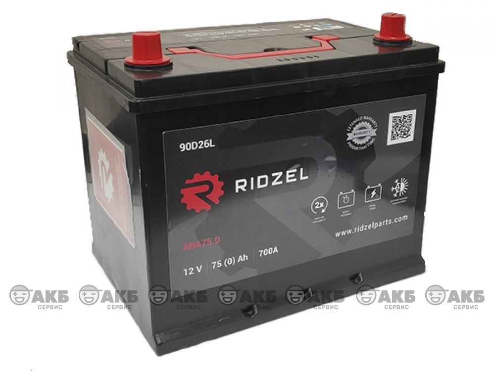 Аккумулятор RIDZEL 6СТ-75 А/ч обратная полярность (азия)