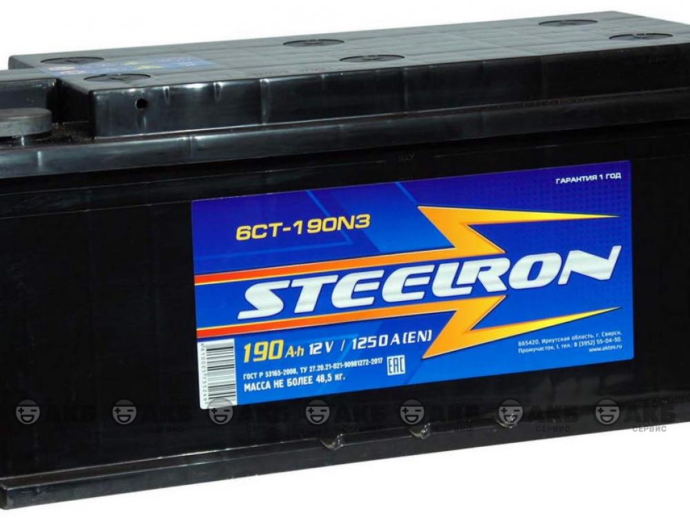 Аккумулятор STEELRON 6СТ-190 А/ч болт