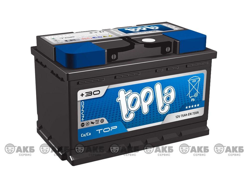 Авто аккумулятор Topla Top 75 А/ч, низкий, обратная полярность