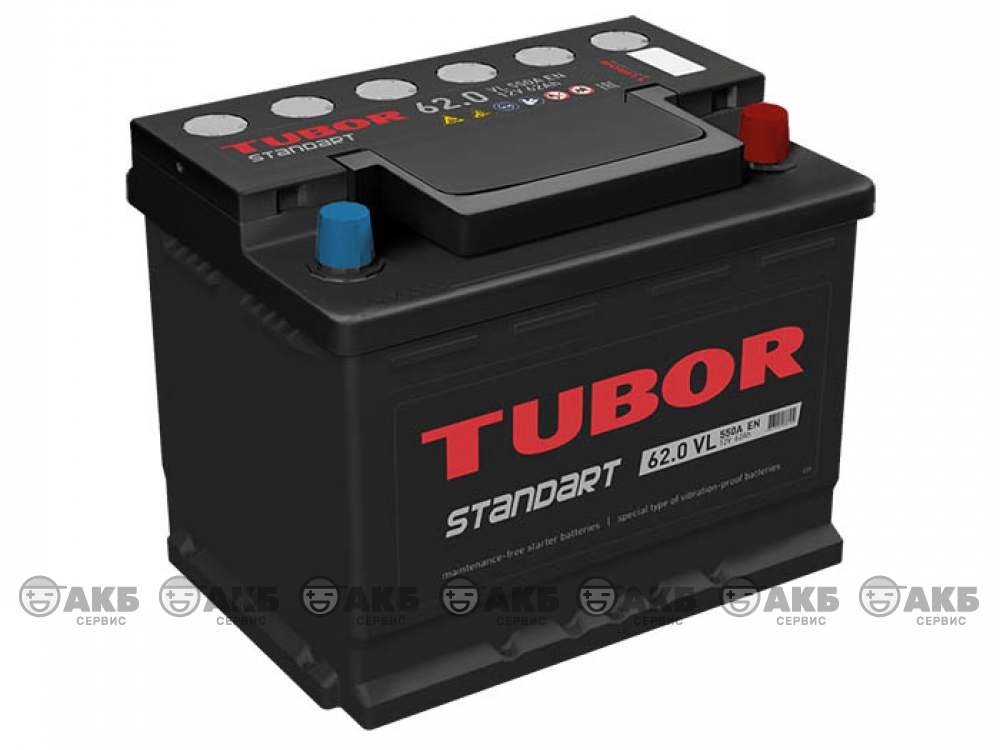 Аккумулятор TUBOR STANDART 62 а/ч обратная полярность