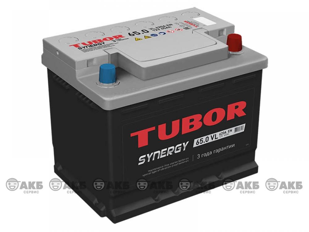 Аккумуляторная TUBOR SYNERGY 65 а/ч обратная полярность