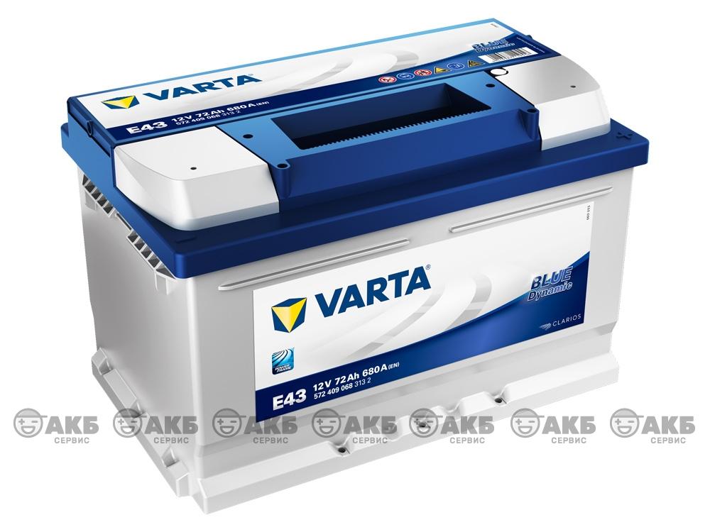 Varta Blue dynamic E43 72А/ч, низкий