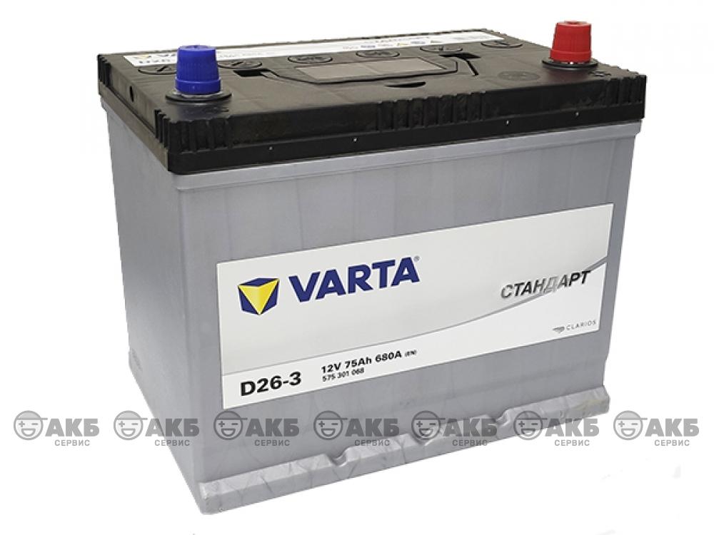 Аккумулятор VARTA СТАНДАРТ 75 а/ч обратная полярность (азия) 575301068